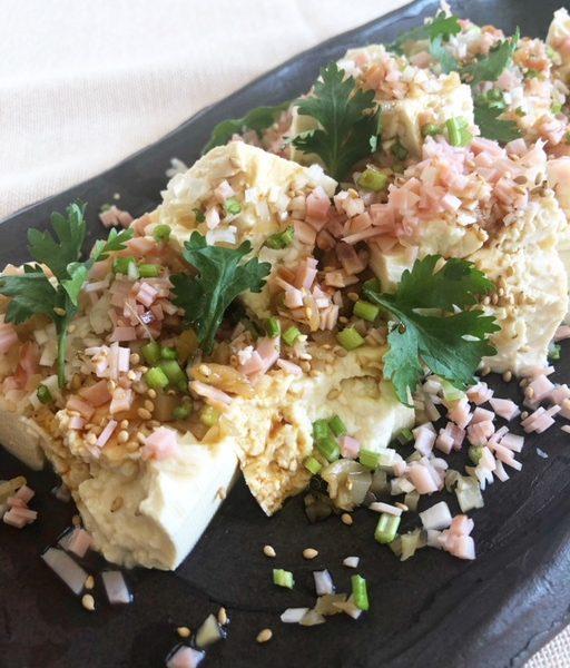 ジーマーミ豆腐と春菊のサラダ